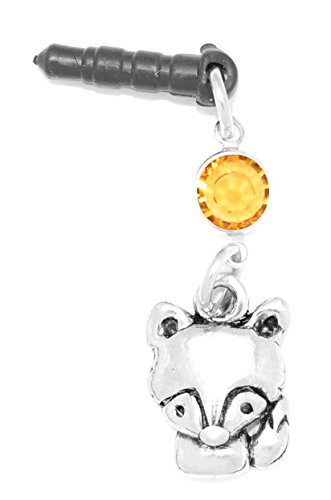 (Clayvision Fox Wolf Dog Phone Charm Topaz Colored Crystal Orange November)