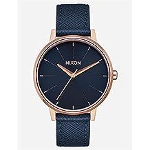 Nixon Women's Kensington Leather Watch Navy/ Rose Gold
