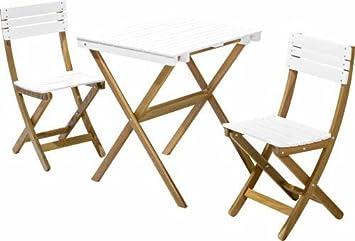 Gartenmöbel Set Holz Weiß ~ Holz gartenmÖbel set tisch cm stÜhle weiß balkon klappbar
