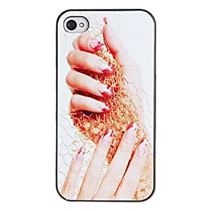 Attractive Hand Holding Mesh Pattern PC Hard Case with Black Frame for iPhone 4/4S