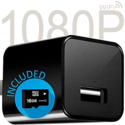 Hidden Spy Camera WiFi Cam USB Wall Charger - Motion Detection & Push Notifications with App - 1080p HD Home Security Camera Wide Lens Video Recorder (16GB SD Card Included) - MySpy from NITOR