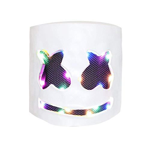 DJ Mask, Music Festival Helmets, Full Head Masks Halloween Party Props Costume Masks White (LED Light ()