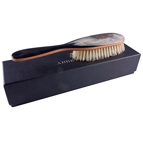 Abbeyhorn Hair Brush Pear Wood Genuine Horn Handle Light Natural Bristle