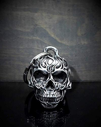 Flame Skull Motorcycle Biker Bell Accessory or Key Chain for Luck