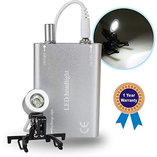 Denshine Portable Head Light Lamp for Dental Surgical Medical Binocular Loupe - Silver