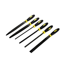 SE 73019NF 6 Pc-6.5-Inch Hobby File Set, Black and Yellow Handle, 28 Cuts Per Cbm