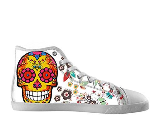 Kvinnor Canvas Kängor Dag Av Den Döda Designen Sockerskalle Shoes04