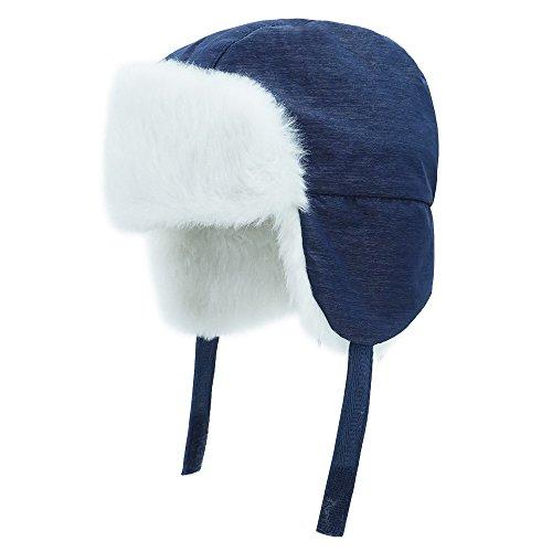 Keepersheep Todder Baby Boys' Ushanka Earflap Winter Bomber Hat Cap, Kids' Trapper Hat Bomber Hat (3-6 Months, Blue) (Trapper Bomber)