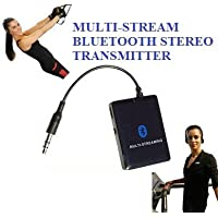 KOKKIA A10m (NEW Luxurious Black) MULTI-STREAM 3.5mm Universal EDR Bluetooth Stereo Transmitter/Splitter (can stream to 2 EDR receivers concurrently) for iPod/iPhone/iPad/iPod Touch/iPod Shuffle, e-Book Readers, Sandisk Sansa, Zune, Tablets, SONY PSP, Nintendo DS, MP3/MP4, PCs, PDAs, any 3.5mm Jack Device