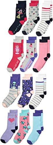 Amazon Brand - Spotted Zebra Girls Crew Socks