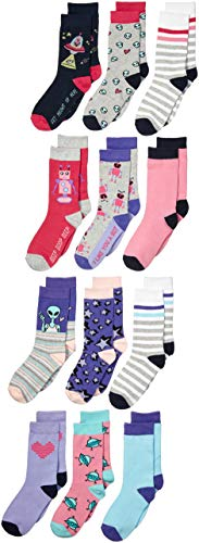 Spotted Zebra Kids' 12-Pack Crew Socks, Robots and Aliens, X-Small (6-9)