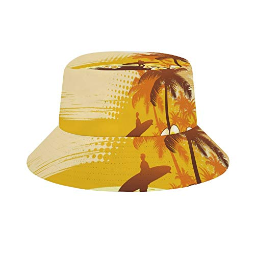 Mesllings Ready To Go Surfing Under The Golden Sky Unisex Print Bucket Hat Travel Sun Cap Fishman Hat