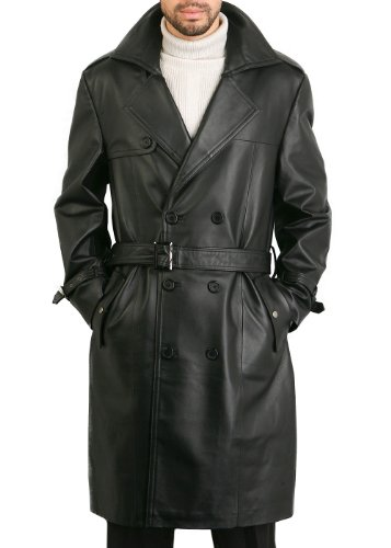 BGSD Men's Xander Classic Leather Long Trench Coat Black Big and Tall 2XLT (2xlt Trench Coat)