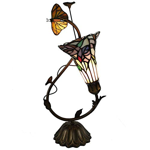 (Bieye L10623 17 inch Butterfly and Lily Tiffany Style Stained Glass Accent Table)