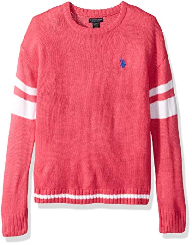 U.S. Polo Assn. Girls' Big Pullover Sweater, Stripe Sleeve Tight Weave Medium Pink, 14/16
