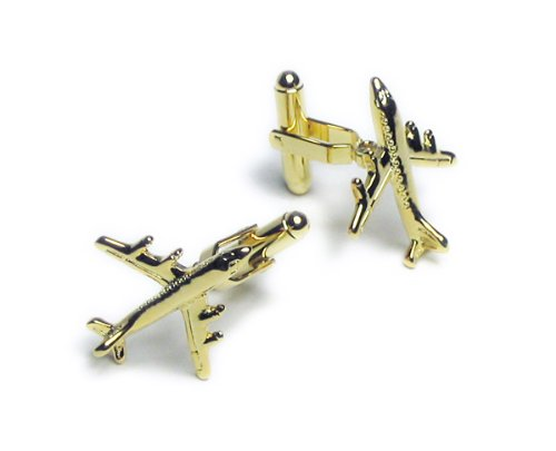 GOLD-Colored Men's Cuff Links. Airplane shaped Cufflinks.