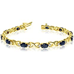 14k Yellow Gold Natural Sapphire And Diamond Tennis Bracelet