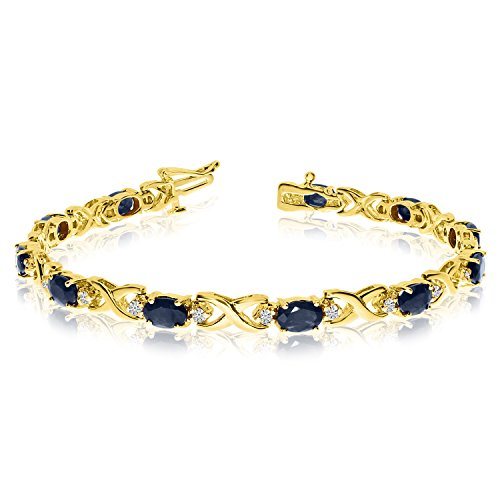 14k Yellow Gold Natural Sapphire And Diamond Tennis Bracelet (8 Inch Length) (Natural Sapphire Gold Yellow 14k)