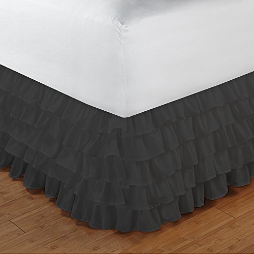Floris Fashion Twin 300TC 100% Egyptian Cotton Black Solid 1PCs Multi Ruffle Bedskirt Solid (Drop Length: 22 inches) - Tailored Finish Super Comfy Easy Care Fabric