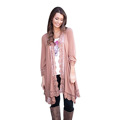 Clearance Sale! Women Cardigan,Canserin Women Lace Irregular Shawl Kimono Cardigan Tops Cover Up Blouse (L, Pink)