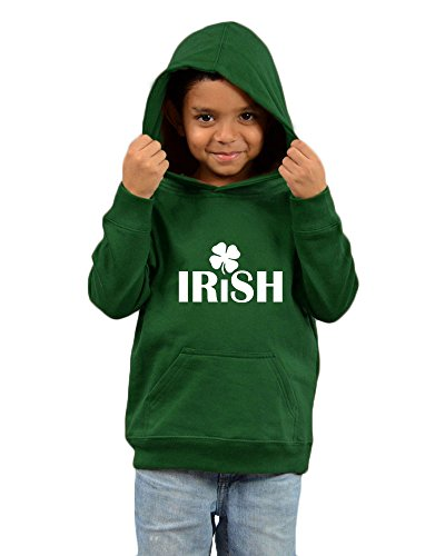 PandoraTees Toddler Fleece Hooded Pullover-Irish With Clover, Forest Green, (Clover Kids Hoodie)