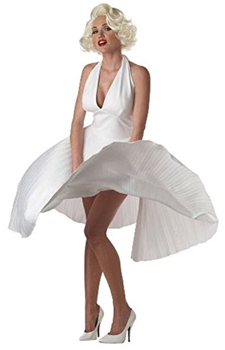 [Deluxe Marilyn Monroe Classic White Pleated Dress Ladys Costume Large 10-12] (Marilyn Monroe Deluxe Adult Costumes)