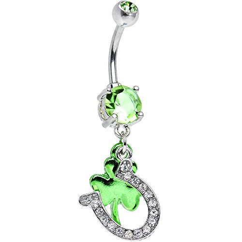 Body Candy Light Green Get Lucky Horseshoe and Clover Dangle Belly Ring ()