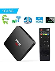 Android TV Box, Android 7.1 TV Box T95 S2 1GB RAM 8GB ROM Amlogic S905W Quad Core 64 bits 2.4GHz WiFi H.265 decodificación de Video Smart 4K TV Box