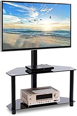 Rfiver Corner Floor Tv Stand With Swivel Mount For Most 32 55 Led Lcd Oled And Plasma Flat Or Curved Screen Tvs Height Adjustable 3 In 1 Entertainment Stand In Black Tw2001 Buy Online At