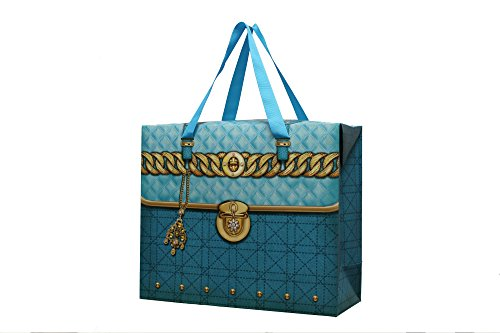 Pink Purse Gift Box - Set of 12 Womens Large Aqua Blue Treasure Chest Paper Gift Bags for Party Favors