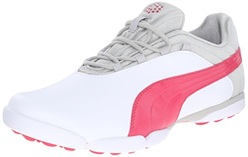 PUMA Women's sunnylite v2 Golf Shoe, White/Rose Red/Gray, 8 M US (Womans Size 8 Puma Shoes)