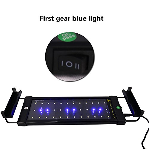 IDEALUX LED Aquarium Light 12 inch - 18 inch Fish Tank Light with Extendable Brackets - Fish Lamp 15 inch White and Blue LEDs (40A=11- 19(28CM))