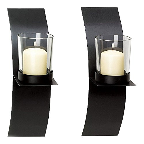 Tytroy Modern Art Candle Holder Wall Sconce Lightweight Home Decor Plaque Set of Two (Art Glass Candle Glass Holder)
