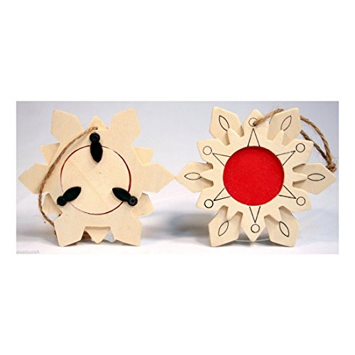 Soko Accents - Pack of 12 Unfinished Wood Snowflake Picture Frame Ornament -Great Kid Craft!