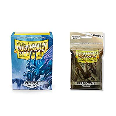 Dragon Shield Matte Petrol + Inner Sleeve Smoke Standard Size 100 ct Card Sleeves Bundle: Toys & Games
