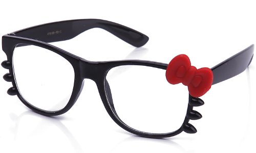 Kyra Women's High Fashion Rubber Touch Finish Hello Kitty Bow Clear Lens Glasses 20% OFF 4 Pairs or - Bow Glasses Hello Kitty With