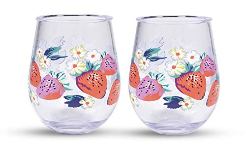 Vera Bradley 16 Ounce Acrylic Stemless Wine Glass Set of 2, Dishwasher Safe, Rosy Garden Picnic