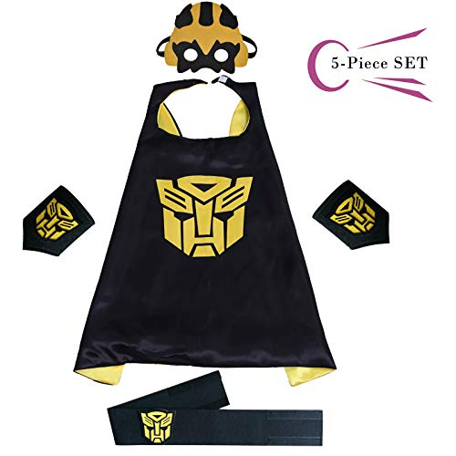 Superhero Dress Capes Set for Kids - Child DIY Superhero Themed Birthday Halloween Party Dress up 5-Pack Set (Wasp) -