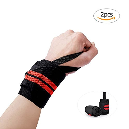 2pcs Wrist Wraps Hand Brace Crossfit Wrist Wraps Support Bands for Weightlifting Exercise Martial Arts Tennis Bike Motorcycle, Yellow Red Green 3 Colors selection (RED) (Three Motor Cross)