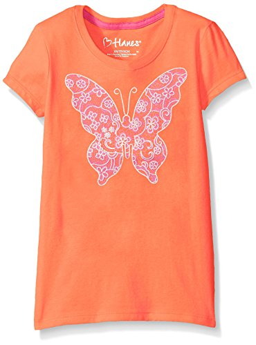 Hanes Little Girls' Graphic Tee, Lace Butterfly, -