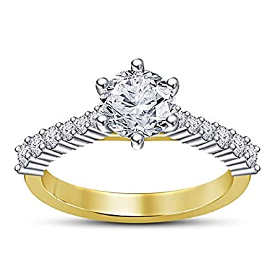 TrueJewelry28 Diamond Solitaire Engagement Set 925 Sterling Silver with 14K White Gold Plated