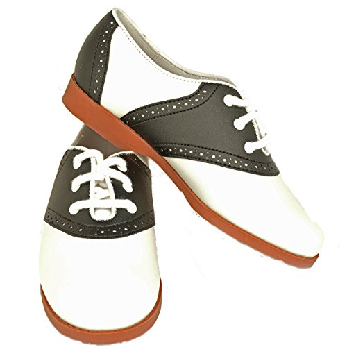 Hip Hop 50s Shop Girl Saddle Oxford Black/White Shoes, 11 M US (Black And White Shoes From The 50's)