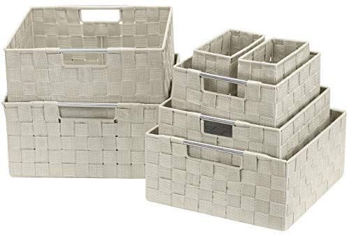 Sorbus Storage Box Woven Basket Bin Container Tote Cube Organizer Set Stackable Storage Basket Woven Strap Shelf Organizer Built-in Carry Handles (7 Piece – Beige)