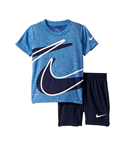 Nike Kids Baby Boy's Dri-Fit Short Sleeve T-Shirt and Shorts Two-Piece Set (Toddler) Obsidian -
