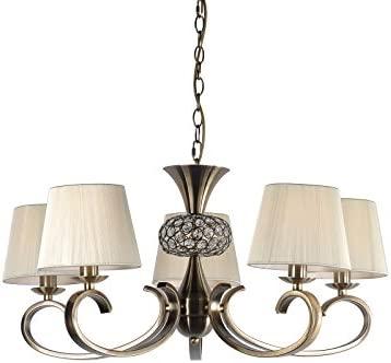 Lampara de techo para habitación o salón | cuero (Oro envejecido), cristal y pantalla hilo Beige | 5 luces | Ideal para habitación o salón | Admite ...