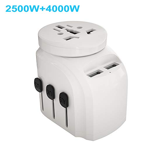 JMFONE 2500W International Travel Adapter for Hair Dryers, 2 USB Charging and UK/AU/US/EU Worldwide Plug Adapter for Europe, Italy, China, Australia, Japan 160 Countries