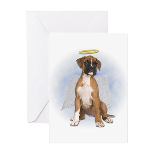CafePress Angel Boxer Puppy Greeting Card, Note Card, Birthday Card, Blank Inside Glossy Boxer Dog Note Card