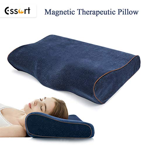 - ESSORT Memory Foam Pillow, Deep Sleeping Orthopedic Magnetic Pillow, Ergonomic Cervical Pillow for Neck Pain, Periarthritis of The Shoulder, Eco-Friendly Durable, Size (23.6x13x4.3in) Royal Blue