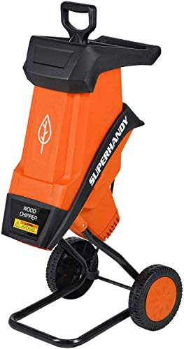 """SuperHandy Wood Chipper Shredder Electric Light DUTYONLY 1.5"""" (39mm) Max Wood Capacity 17:1 Reduction 15A 1800W 120VAC Dual Edge Blades for Fire Prevention & Firebreaks (Amazon Exclusive for USA)"""
