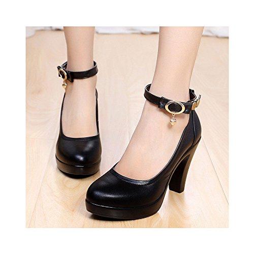 OCHENTA Zapatos de trabajo de las mujeres de cuero - yardas grandes tacones gruesos Negro 8.8CM